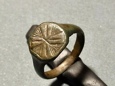 Ancient MEDIEVAL bronze Ring, Christian knight's cross