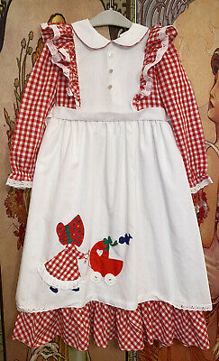 Vintage Child Girl Nannette Holly Hobby Ruffle Gingham Pinafore Maxi Dress 5
