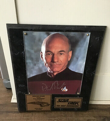 Star Trek Captain Picard Signed Autographed Plaque Next Generation TNG