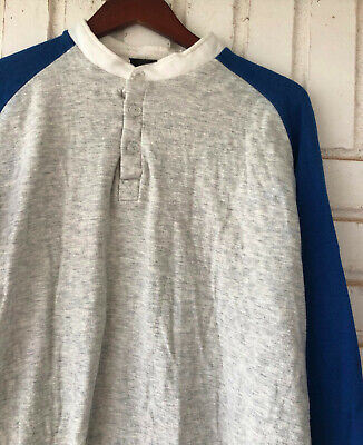 Vtg 80s 90s Duofold Thermal Henley Shirt Mens XL Colorblock Blue Gray Two Layer