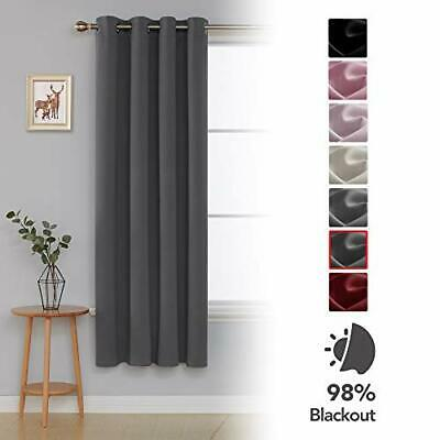 Deconovo Thermal Insulated Eyelet Blackout Curtain Livingroom One Panel, Dark