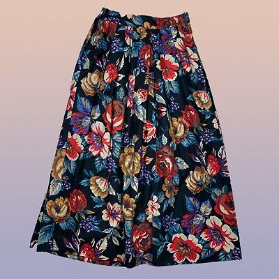 VINTAGE Breeches Womens Midi Skirt XS Black Floral Pleated High Waisted