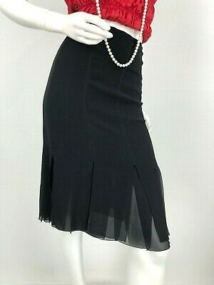 Akris New 4 US 40 IT S Black Silk Dress Skirt Straight Lined Slits Runway Auth
