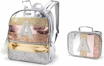 JUSTICE Girls Glitter Stripe Initial Backpack and Lunch Tote (Letter E) NWT