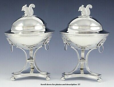 2 Antique 1816 Swedish Silver Squirrel Finial Covered Compotes Tureens Dishes