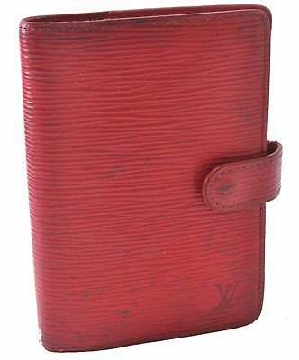 Authentic Louis Vuitton Epi Agenda PM Day Planner Cover Red LV A5441