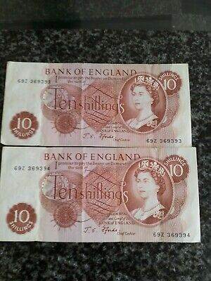 Two JS Forde ten shilling notes with consecutive serial numbers.