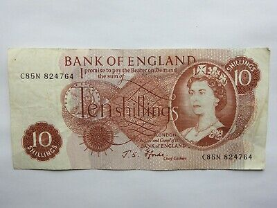 C85N 82476OLD ten bob note 10 shillings bank of england J.S FFORDE chief cashier