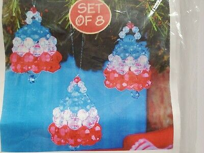 WHITE AND BLUE Christmas Ornament Kit Bead Sequin Herrschners SPIRIT OF THE RED