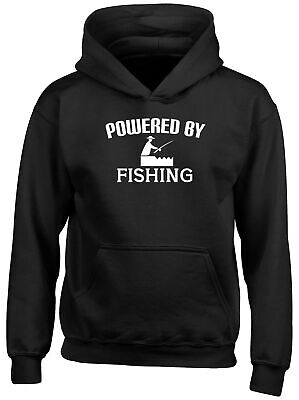 Powered by Fishing Childrens Kids Hooded Top Hoodie Boys Girls