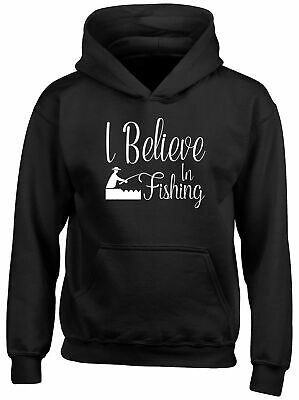 I Believe in Fishing Childrens Kids Hooded Top Hoodie Boys Girls