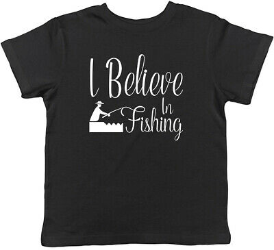 I Believe in Fishing Childrens Kids T-Shirt Boys Girls