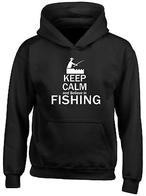 Keep Calm and Believe in Fishing Childrens Kids Hooded Top Hoodie Boys Girls