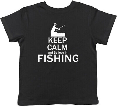 Keep Calm and Believe in Fishing Childrens Kids T-Shirt Boys Girls