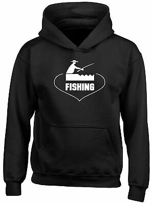 Love Fishing Childrens Kids Hooded Top Hoodie Boys Girls