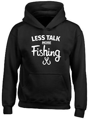 Less Talk more Fishing Childrens Kids Hooded Top Hoodie Boys Girls
