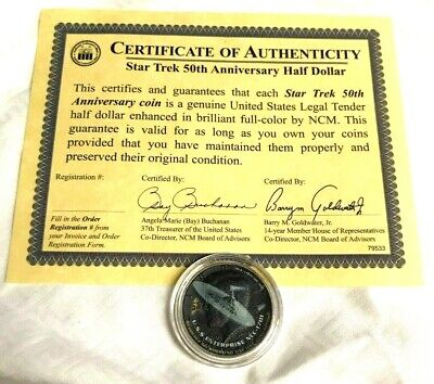 Star Trek 50th Anniversary USS Enterprise NCC-1701 Half Dollar With Certificate
