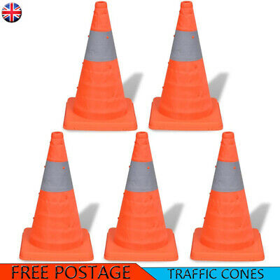 Road Traffic Cones 5 Pop-up Pack Self Weighted 42 cm Safety Reflective Stripe
