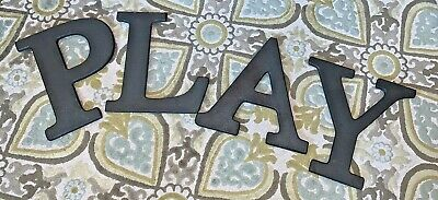 """4 Pottery Barn Kids Faux Bronze Finish 11.5"""" Wall Letters Spells 'PLAY'"""