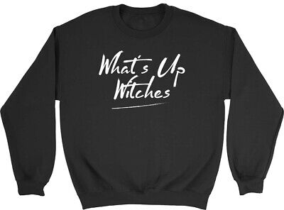 What's Up Witches Funny Halloween Kids Childrens Jumper Sweatshirt Boys Girls