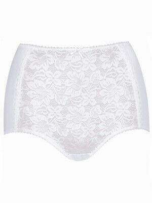 Details about  /M/&S Collection Quality Cotton Rich Lace Panelling Full Briefs White Size 12