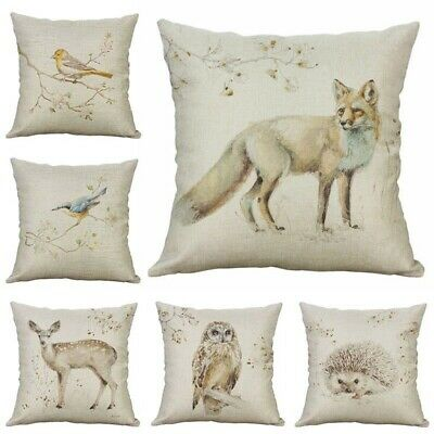 Cushion Pillow Cover Animal Fox Puppy Elephant Monkey Vintage Books 18/'*18/' Home