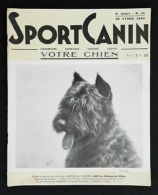 Rare 1938 issue of Sport Canin, the cover dog is a Bouvier des Flandres