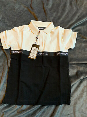 Emporio Armani Boys Black & White Polo Shirt Age 6 Years New Tags