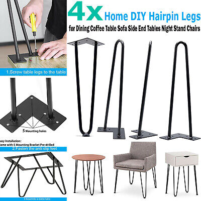 Set of 4 Hairpin Table Legs Heavy Duty Black Iron Metal Rods Industrial Style eh