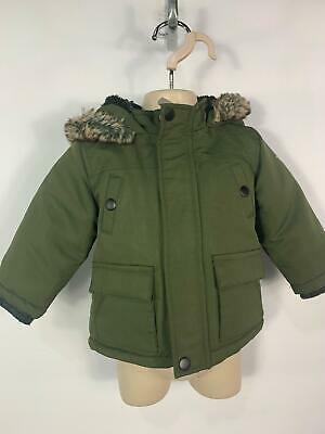 Boys Primark Khaki Green Winter Padded Hood Raincoat Jacket Kids Age 6/9 Months