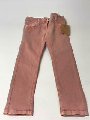Bnwt Girls Next Pink Embroidered Skinny Adjustable Waist Denim Jeans Age 6 Years