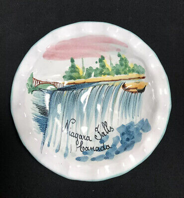 Vintage Niagara Falls Retro Canada Souvenir Ashtray Made in Japan 3-34 Maid of the Mist Blue and White Gold Accents Green Vintage