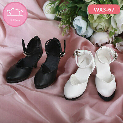 Black//White Leather High Heels Cross Strap Buckle Shoes for 1//3 Supia BJD Doll