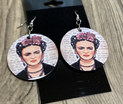 Details about  /frida kahlo mexican  earrings Wood