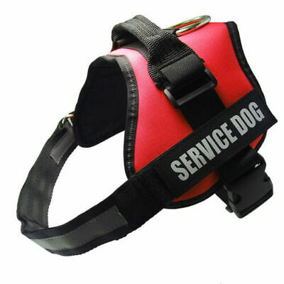 Adjustable Service Dog Harness Vest Patches Reflective Small Large BLACK/RED
