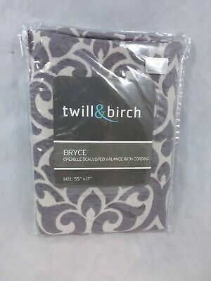 """2 NEW Twill and Birch Bryce Chenille Scalloped Valance  Cording 55/"""" X 17/"""" Sand"""