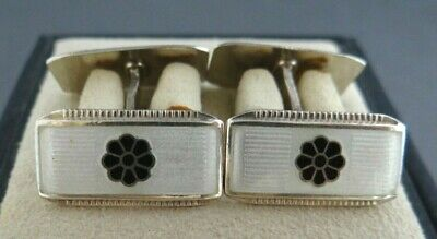 Antique Aksel Holmsen Norne sterliing and enamel cufflinks made in Norway QH4194