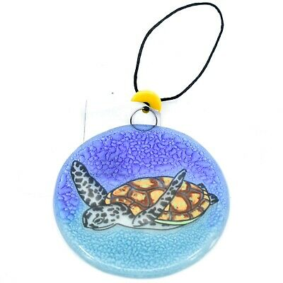 Hatching Baby Sea Turtle Fused Art Glass Sm Square Plate Dish Ecuador Fair Trade