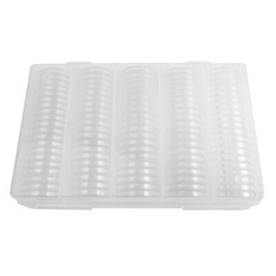 100Pcs 27mm 30mm Coin Cases Capsules Holder Clear Plastic Round Storage Box
