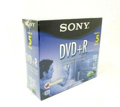 Sony DVD+R Blank Recordable DVD 5-Pack 120 min 4.7 GB SEALED