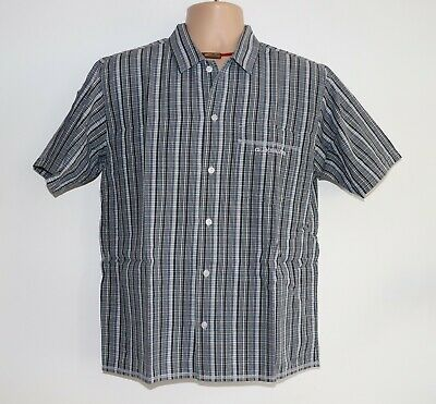 Boys Kids Vintage QUIKSILVER Short Sleeve Grey Check Cotton Shirt Size 14 Years