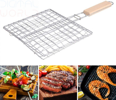 KSS Barbecue BBQ Grill Basket Double Fish Grilling Basket