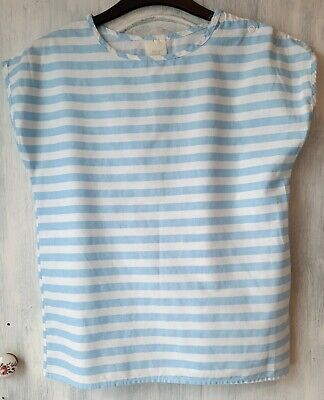 """Vintage Girls Blue & White Striped Cotton Top Height 58/60"""" Made In Uk Used Vgc"""