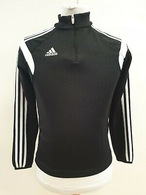 P537 Boys Adidas Black White L/Sleeve Zip Tracksuit Top Uk L E 152