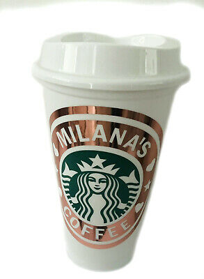Personalized Starbucks Coffee Tea Cup Reusable Plastic Tumbler name Rose Gold