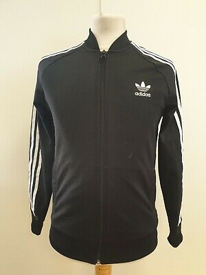 Q479 Boys Adidas Black Long Sleeve F/Zip Tracksuit Top Uk 13-14 Yrs