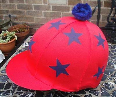 Riding Hat Silk Skull cap Cover NAVY BLUE DOUBLE LIME GREEN STARS With ORw//o Pom