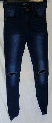 Boys Next Dark Blue Whiskered Denim Ripped Skinny Stretch Jeans Age 12 Years