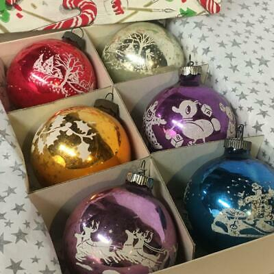 Vintage Shiny Brite Ornament Lot of 6 Stenciled Designs Christmas Holiday Decoration