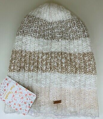 Free People Cozy in Stripes Beanie Hat Berry Rose One Size